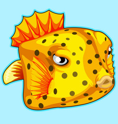 yellow tropical fish on blue background vector image vector image