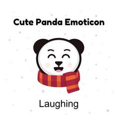 cute cartoon emoticon baby panda laughing emoji vector image