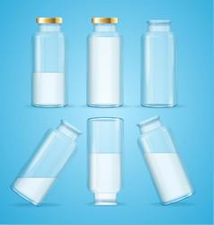milk bottles drink set vector image vector image