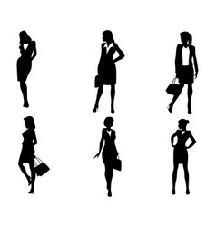 six businesswoman silhouettes vector image