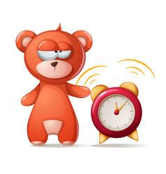 sleeping bear funny cute alarm vector image vector image