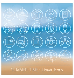 Summer Objects Linear Icons Set on Blur Background vector image vector image