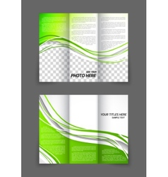 Tri-fold green wave brochure vector image vector image