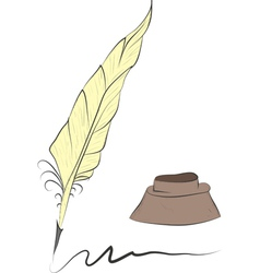 feather and inkwell vector image