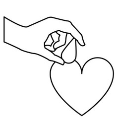 Hand holding drop blood heart donation line vector