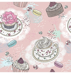 Seamless pattern with cupcakes tea and macaroons vector image