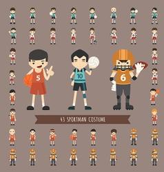 Set of 43 sportman costume characters vector image vector image