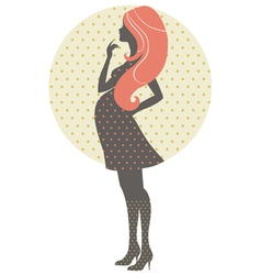 Silhouette of pregnant woman in retro style vector image vector image