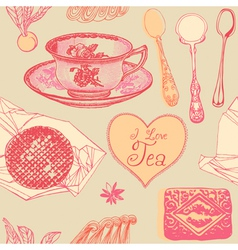 Vintage Love Tea Pattern vector image