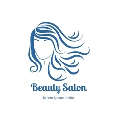 Blue icon with girl face silhouette vector image