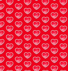Cute shiny hearts seamless pattern with a red vector image