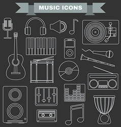 Music Instruments and Gadgets Big icon set vector image