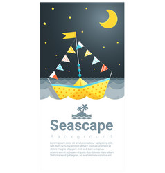 Seascape background with colorful paper ship vector