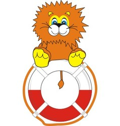 smiling little lion on life bu vector image vector image