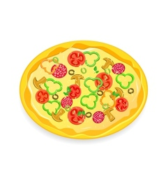 fresh pizza icon with vegetables and pepperoni vector image