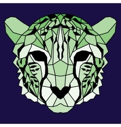 Green low poly lined cheetah vector image vector image