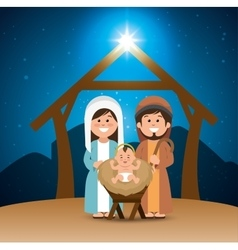 holy family merry christmas manger vector image