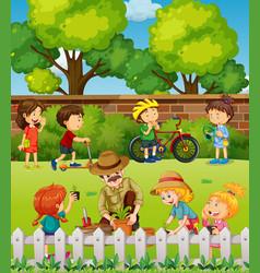 many children having fun in park vector image vector image