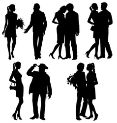 Several people - silhouettes vector image