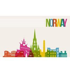 Travel Norway destination landmarks skyline vector image vector image