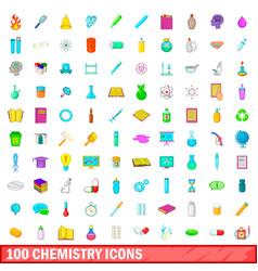 100 chemistry icons set cartoon style vector image