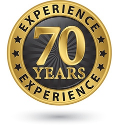 70 years experience gold label vector
