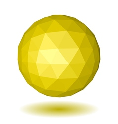 Abstract yellow low polygonal sphere vector