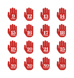 age limitation and restriction signs set vector image