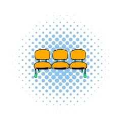 Airport seats icon comics style vector
