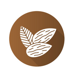 Almond flat design long shadow glyph icon vector