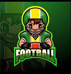 American football player esport logo design vector