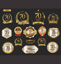 Anniversary golden laurel wreath and badges 70 vector
