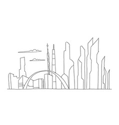Big city skyscraper future sketch hand drawn vector