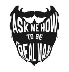 Black Beard silhouette with concept phrase inside vector image