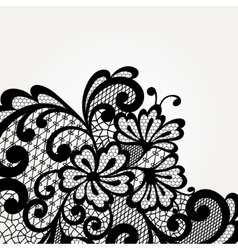 Black lace corner vector