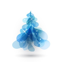 Blue Christmas tree with blurred lights on white vector