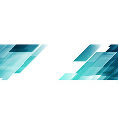bright blue abstract tech geometric banner design vector image