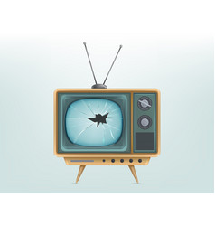 Broken retro tv set vector