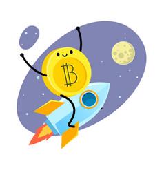 cartoon bitcoin character vector image