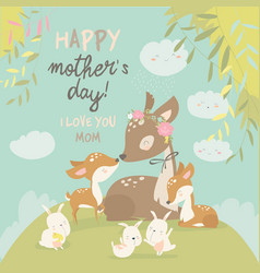 cartoon deer family mother and bacute animals vector image