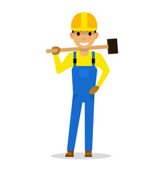 cartoon man builder with a sledgehammer vector image