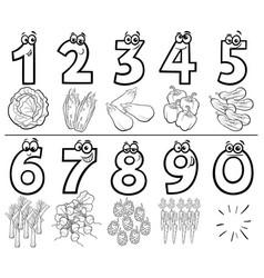 Cartoon numbers set coloring book vector
