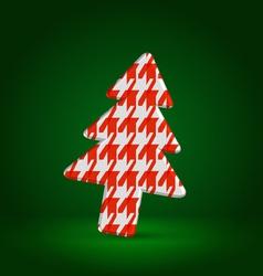 Checkered fir tree symbol over dark green vector