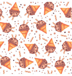 chocolate ice cream cone seamless pattern vector image
