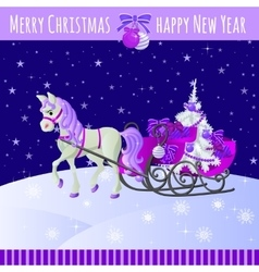 Christmas card with horse and sled with gifts vector