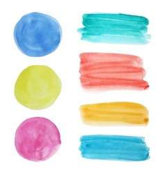 collection of watercolor circular spots and vector image