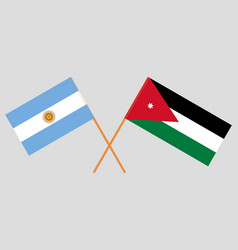 Crossed flags jordan and argentina vector