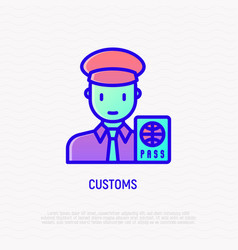 Customs thin line icon officer checking passport vector