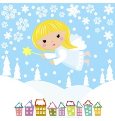 Cute Christmas angel vector image