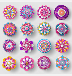 Cutted from paper flowers set colorful poster vector